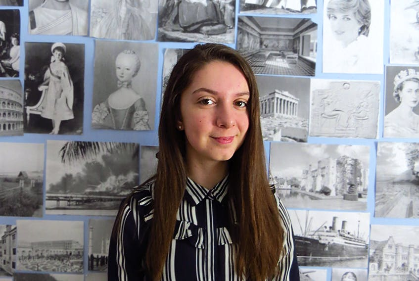 Charlotte Armstrong has a passion for history, and has created a wall in her room of pictures featuring famous women and events of the past. She is a Grade 12 Charlottetown Rural student in the International Baccalaureate, or IB program. She is off to Toronto this week to compete as a national finalist for the Loran scholarship valued at close to $100,000. It also includes a summer program for successful candidates.  ©THE GUARDIAN
