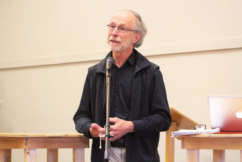 Sylvain Archambault, co-founder of the St. Lawrence Coalition and biologist at Canadian Parks and Wilderness Society Quebec, discusses the changing climate and its effect on the ocean during a presentation for World Ocean's Week: Celebrating and Protecting the Gulf of St. Lawrence on Saturday at the Farm Centre in Charlottetown. The event was part of World Ocean's Week, June 1-8.