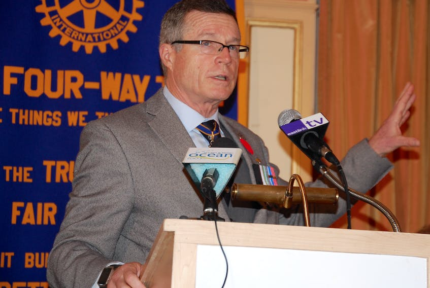 Retired Brig.-Gen. David C. Kettle gave a presentation Monday as the guest speaker of The Rotary Club of Charlottetown Remembrance Ceremony. (JIM DAY/THE GUARDIAN)