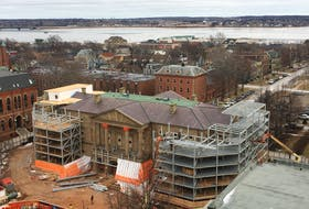 The first phase of work on the massive restoration of Province House is coming to a close. A steel exoskeleton is being constructed to help stabilize the building as the $47-million project continues. JORDAN DOIRON/SPECIAL TO THE GUARDIAN