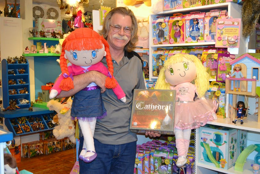 """Dan Viau, owner of The Toy Factory in New Glasgow, is donating a variety of toys, including one-of-a-kind Huggles dolls, to """"You are not alone this Christmas"""", a fundraiser for children who have lost a parent to depression or addiction this year."""