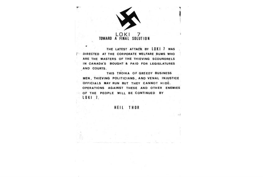 This is one of the letters Roger Bell sent to media and police during his reign of terror. Bell's writings suggested a man obsessed with Nazi beliefs, a person with a serious grudge and a man who despised politicians and judges. Submitted image