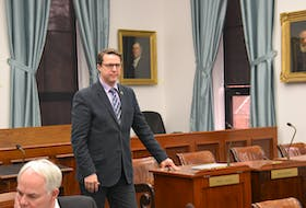 PC MLA Brad Trivers is shown in the legislature before the beginning of question period earlier this week.