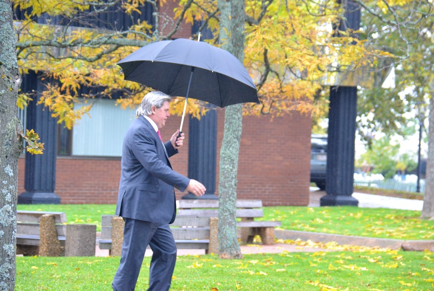 Capital Markets Technologies Inc. (CMT) president Paul Maines leaves the P.E.I. Supreme Court on Tuesday afternoon. CMT is suing the provincial government and 14 other defendants for $50 million in relation to the province's e-gaming saga.