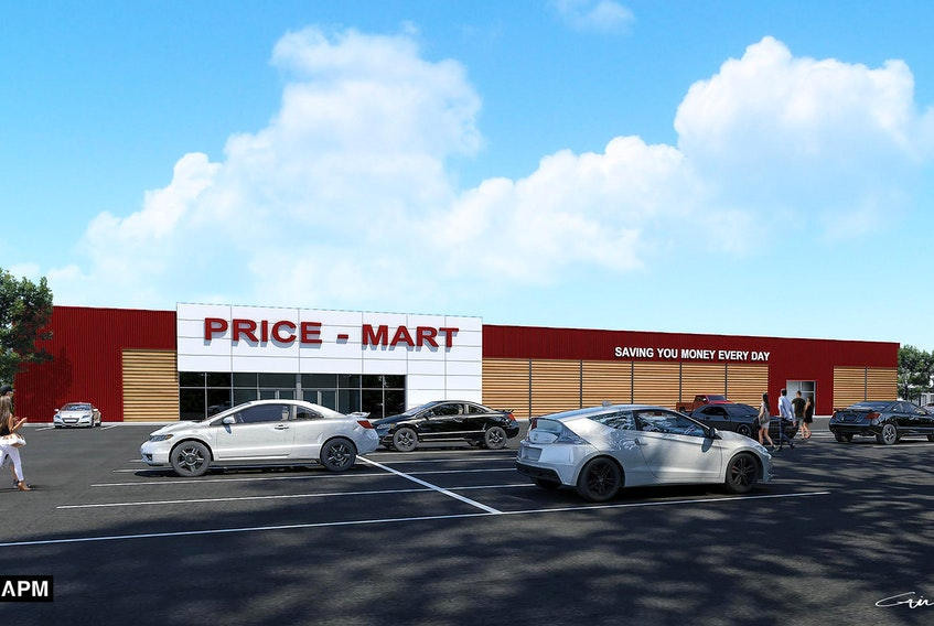 A concept drawing shows what the proposed Price-Mart in Stratford would look like. Stratford council voted unanimously in favour of the development during Wednesday's meeting, with Coun. Jill Burridge and Coun. Darren MacDougall absent