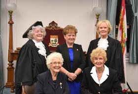 P.E.I.'s Famous Five take part in a recreation of a photograph taken in 1993. The five women spoke to an all-female audience of high school students at the legislature on Thursday, Oct. 11, 2018. Shown back row, left, former speaker of the house Nancy Guptill, former leader of the opposition Pat Mella, former deputy speaker Elizabeth (Libbe) Hubley, and, front, former lieutenant-governor Marion Reid and former premier Catherine Callbeck.