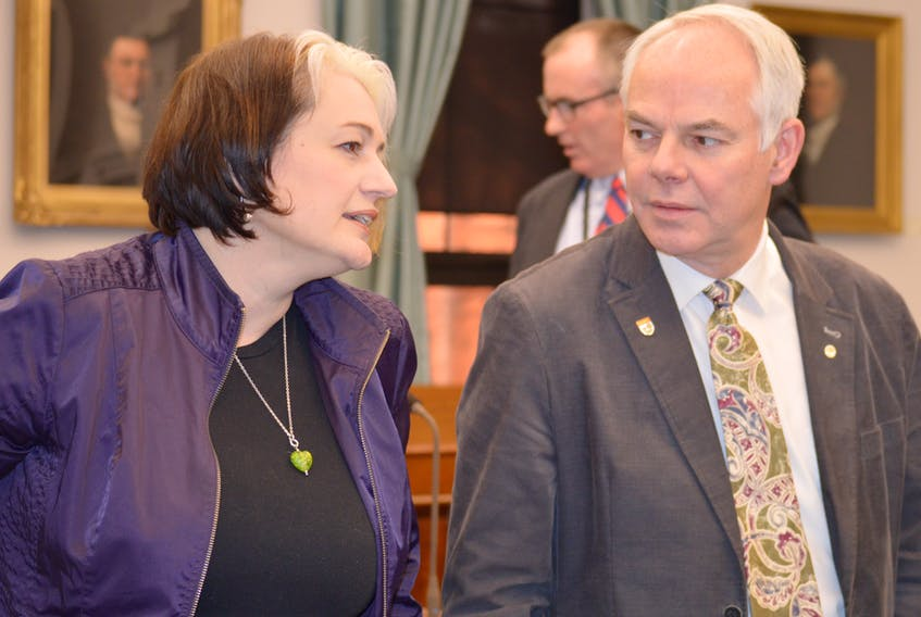 Green MLAs Hannah Bell and Peter Bevan-Baker are shown in the P.E.I. legislature prior to question period last week.