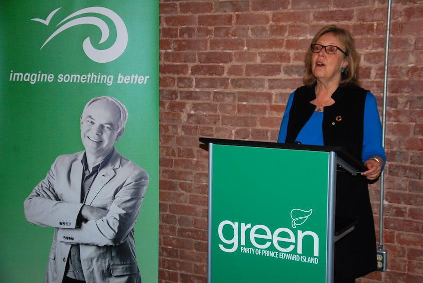 Green Party of Canada Leader Elizabeth May speaks to reporters Tuesday morning in Charlottetown. She was on the campaign trail Monday and Tuesday in P.E.I. helping to drum up support for the Green Party heading into Tuesday's provincial election.