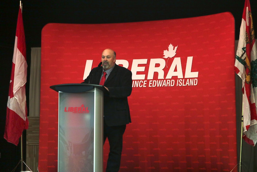 Newly nominated Liberal candidate Kevin Doyle speaks at a party meeting on Wednesday night at Kaylee Hall. Doyle won a hotly contested nomination contest in Georgetown-Pownal.