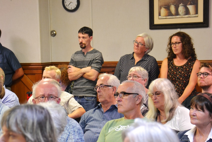 Green Party members and supporters listen to party nominees at a nomination meeting in Charlottetown on Wednesday. The party nominated five candidates in the Charlottetown and Stratford area.