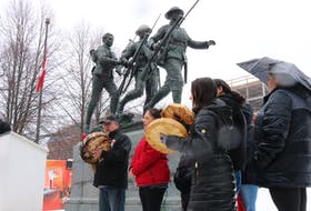 Around 60 people gathered at the Cenotaph in Charlottetown in a rally in support of members of B.C.'s Wet'suwet'en First Nation who have opposed the development of a natural gas pipeline within the Nation's traditional territory.