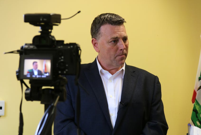 PC Leader Dennis King is interviewed by reporters on April 24, 2019 in Charlottetown. King said he hopes he can govern without a formal coalition.