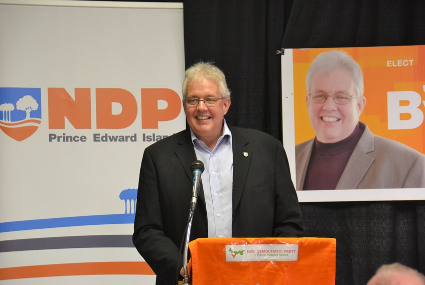 Joe Byrne, party leader of the P.E.I., at a nomination meeting on Thursday night. Byrne will be the party's candidate in Charlottetown-Victoria Park.