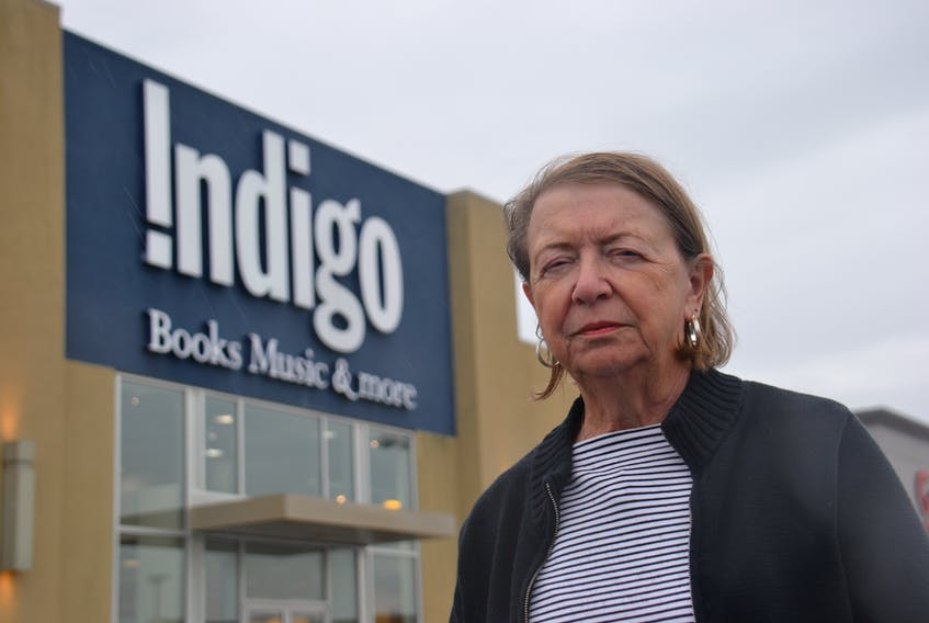 Judith Meara stands in front of the Indigo book store, located on University Avenue in Charlottetown. She says she was bitten by a small dog while shopping inside the store in May and has had to have four rabies shots in case the animal's vaccinations weren't up to date.