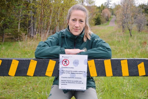 Hailey Lambe, resource management officer with Parks Canada, says a section of the trail at Skmaqn–Port-la-Joye–Fort Amherst national historic site is closed after a man had a coyote encounter. Lambe says Parks Canada staff is currently investigating and monitoring the site.