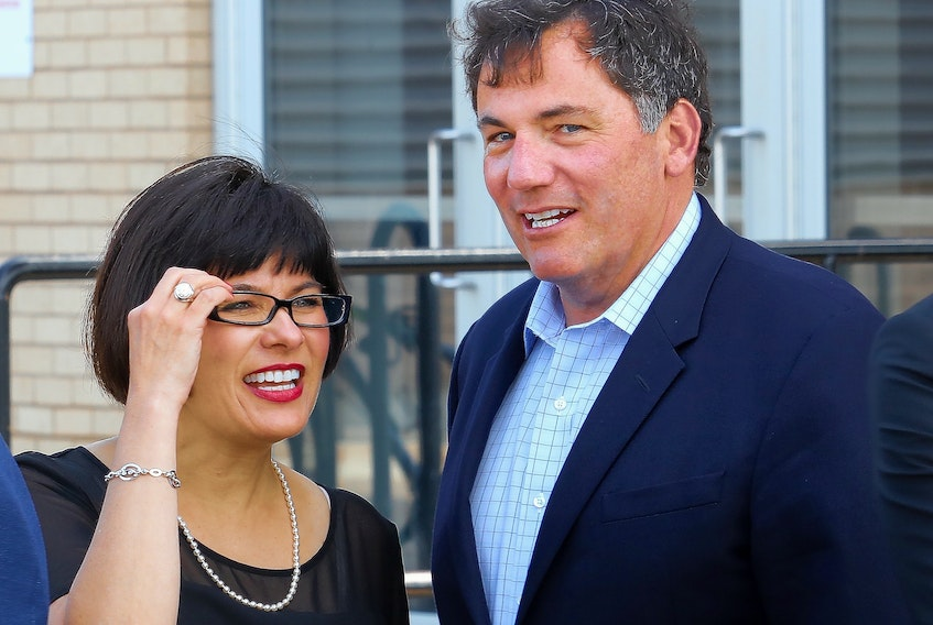 Fisheries and Oceans Minister Dominic LeBlanc, right, chats with Federal Health Minister Ginette Petitpas Taylor at a meeting about the Atlantic Growth Strategy in Summerside on Tuesday.
