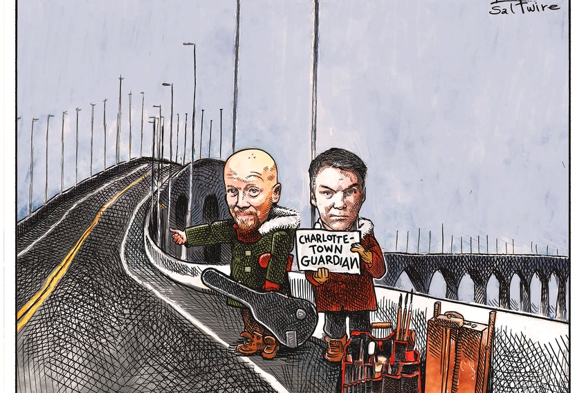 Bruce MacKinnon, left, and Michael de Adder are set to share their editorial and political commentary with Guardian readers starting today. Both are award-winning cartoonists with the SaltWire Network. - Michael de Adder/SaltWire Network