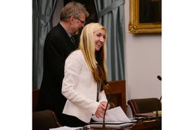Summerside-Wilmot MLA Lynne Lund, shown last week in the legislature, introduced a bill that would see the Island adopt a more robust target for reducing greenhouse gas emissions.