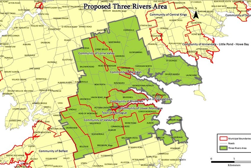 Map depicts the proposed Three Rivers amalgamated region. (File Graphic)