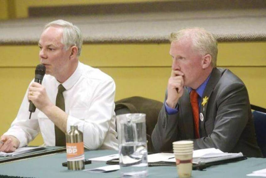 Green Party Leader Peter Bevan-Baker, left, and NDP Leader Mike Redmond, take part in a public event during the 2015 P.E.I. provincial election campaign.  (Guardian file photo)
