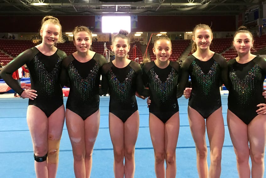 Members of Team P.E.I. take a moment before competition at the recent Eastern Canadian Gymnastics Championships in Summerside to pose for a team picture. From left are Rae-lee MacDonald, Kylee Hill, Emma King, Solen Trainor, Anna Bernard and Tanisha Tawil.