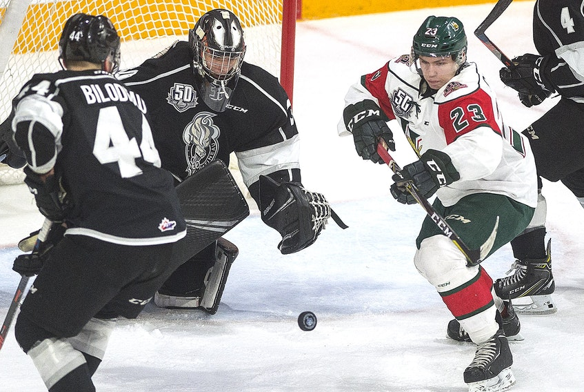 Halifax Mooseheads forward Keith Getson goes after a loose puck during Quebec Major Junior Hockey League regular season action against the Gatineau Olympiques.