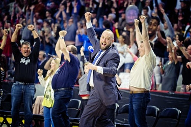 Moncton Magic head coach Joe Salerno celebrates during Game 7 of the National Basketball League of Canada's Eastern Conference Final. Mathieu Chiasson/Special to The Guardian
