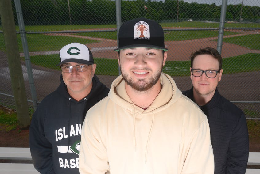 """Infielder Kody Matthews has joined the Charlottetown Gaudet's Auto Body Islanders of the New Brunswick Senior Baseball League. He arrived in town on Thursday. From left are head coach Doug Hines, Matthews and veteran pitcher Jake Beck. """"It's a blessing,"""" Matthews said. """"They took a chance on me, and I couldn't be more thankful for it."""""""