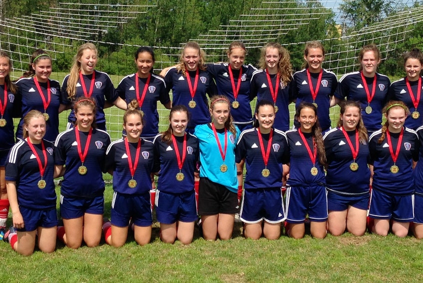 The Summerside United went undefeated in winning the Codiac First Touch FC annual soccer tournament in Moncton, N.B., on Sunday afternoon. The United defeated Oromocto, N.B., 5-0 in the championship game. Members of the United are, front row, from left: Carly MacKenzie, Paige Deighan, Abby Christopher, Hilarie Gaudet, Kyrsten Coyle, Julia Johnson, Jillian Arsenault, Brianna MacCardle, Liz Mulligan and Heidi Lauwerijssen. Back row: Michelle Johnson (coach), Maddy Moffatt, Rebecca Procter, Callie Champion, Jane Gallant, Paige Lauwerijssen, Ellen Murphy, Julia Smith, Madeline Hamill, Ellen Cole, Erin Arsenault-Gallant and Wade Smith (coach).