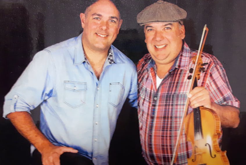 Michael Pendergast, left, and Leon Gallant will bring their high-energy traditional East Coast show to the Ceilidh in the City Wednesday night. Submitted photo