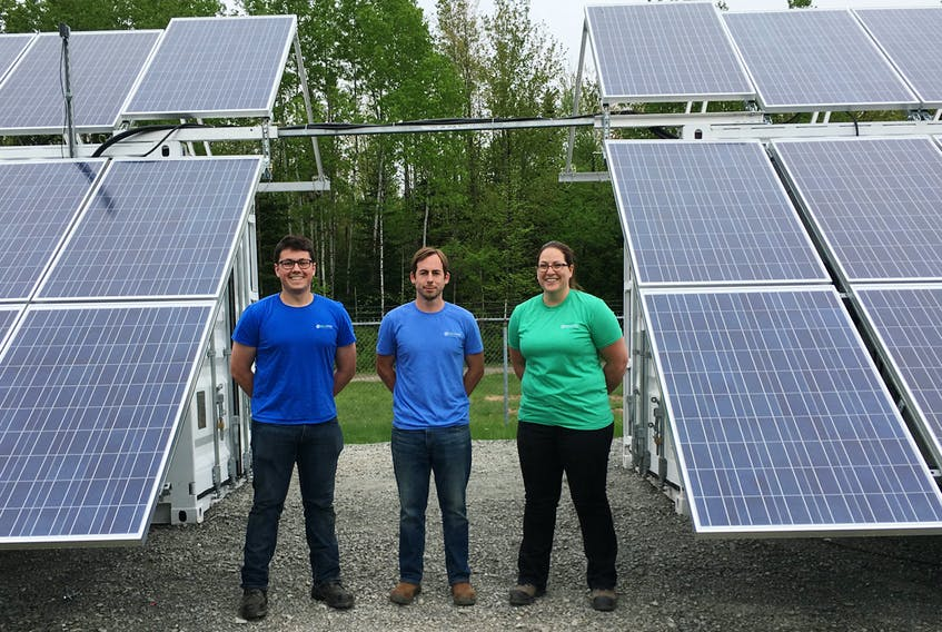 Three members of Island Water Technologies were at CFB Gagetown this summer to help with the installation and validation of the company's solar powered modular wastewater treatment system. In the picture is Bryce Stewart, left, Michael Deighan and Becca Connolly.