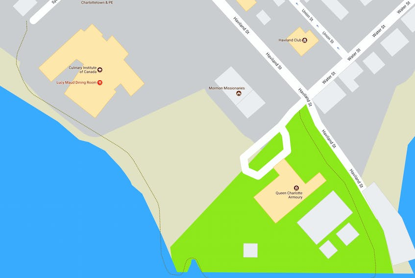 This portion of the Charlottetown boardwalk - between Sydney Street, at left, and the Celtic monument near the Culinary Institute - will be closed to pedestrians until the end November.