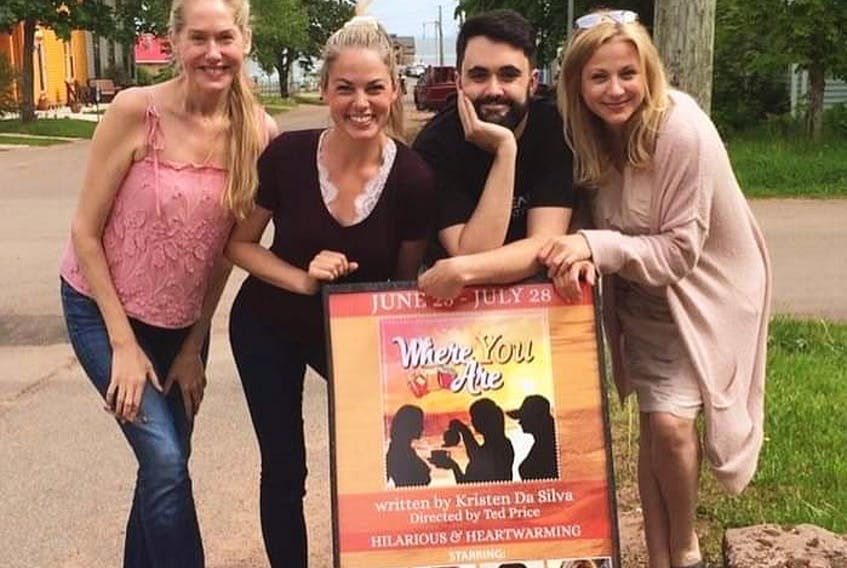 """Cast members take a break from rehearsals for """"Where You Are"""" outside Victoria Playhouse. From left are Debra Lynne McCabe, Helen Killorn, Benton Hartley and Francine Deschepper."""