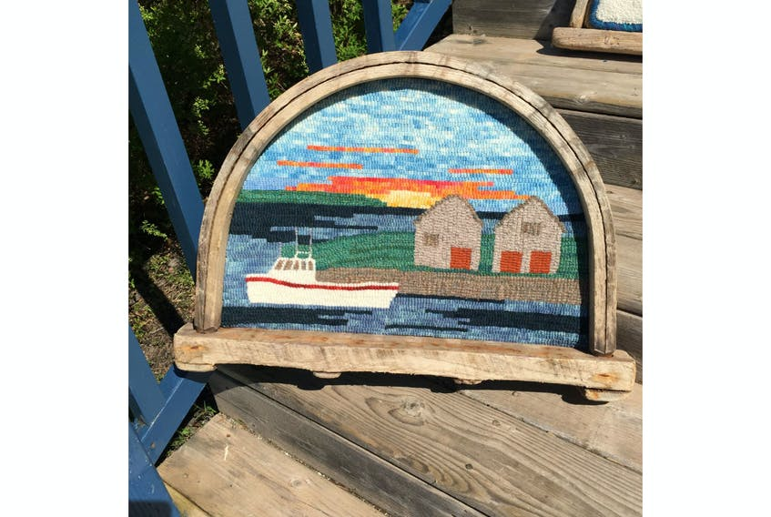 This is one of the pieces in the Rug Hooking installation at the Watermark Gallery Art in North Rustico this summer.