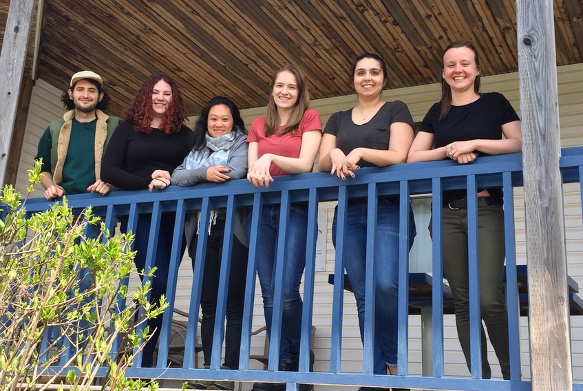 Mike Grdosic, Meghan Riddell, Lokki Ma, Rachel Smith, Claudia Groves and Verg Iredale are summer interns at the Watermark Theatre in North Rustico.