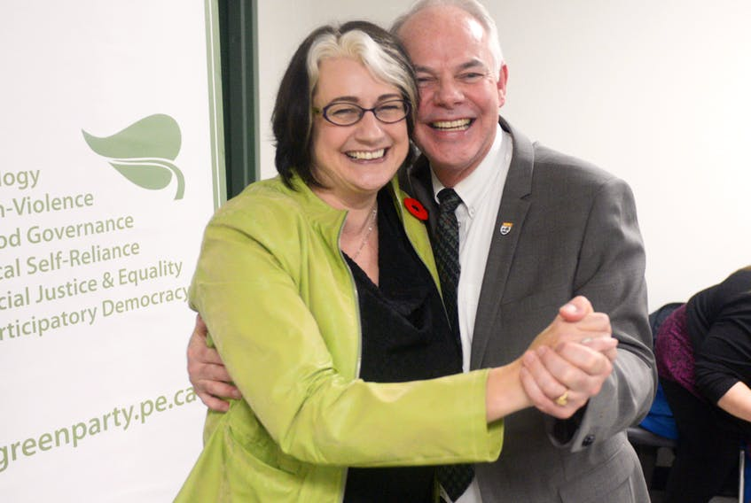 Green party candidate Hannah Bell, left, and party leader Peter Bevan-Baker celebrate after Bell was chosen as the District 11 byelection candidate during the party's first-ever contested nomination meeting at Murphy's Community Centre Monday night. MITCH MACDONALD/THE GUARDIAN