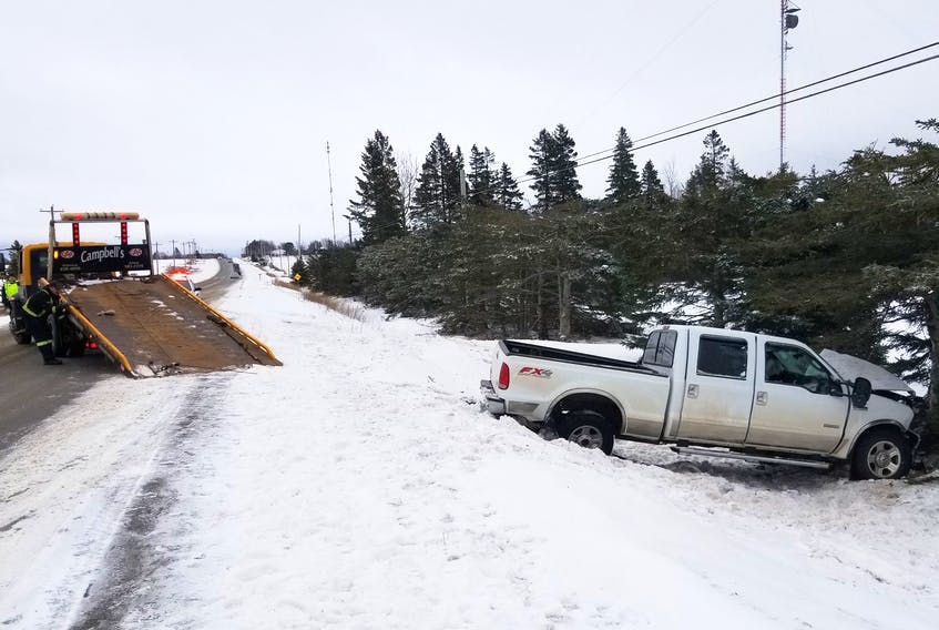 A single vehicle crash on Route 3 in the Alberry Plains-Summerville area of southern Kings County on Tuesday afternoon, as posted on the P.E.I. RCMP's Twitter account.