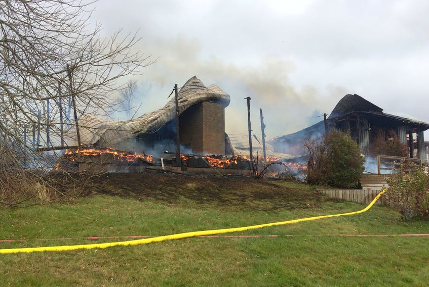 Fire destroyed a home and an attached garage in Lower Debert on Monday.