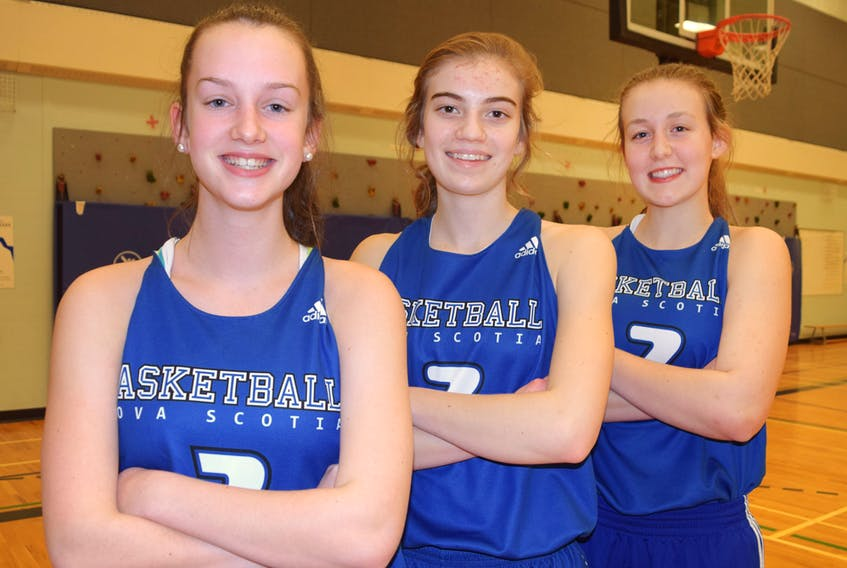 A trio of Colchester County players will suit up for Nova Scotia at the under-15 national basketball championship this summer in Fredericton. Emma Roberts, left, Jasenda Horsman and Emma Ross will wear the blue and white at the event being played on the campus of UNB.