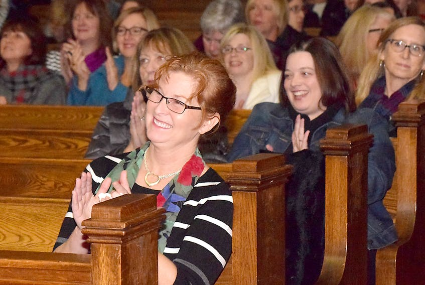 Mary Teed, executive director of the Colchester Adult Learning Association, is all smiles after her organization was named recipient of funding from 100 Women Who Care, Truro. Joey Smith/Truro Daily News