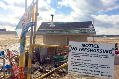 """Alton Gas has posted signs outside the Treaty Camp near the Shubenacadie River in Fort Ellis naming """"water protectors"""" on the site as trespassers and criminals, a Mi'kmaq group says."""