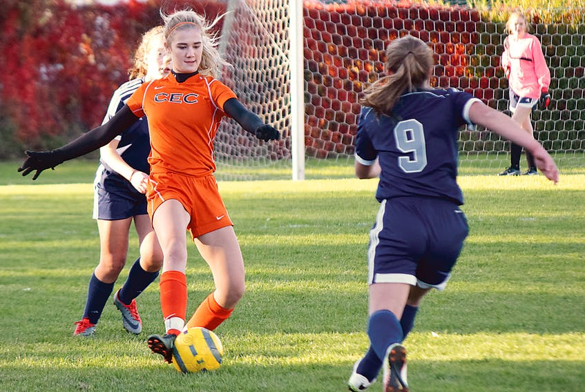 Lexie Sellers of the Cobequid Cougars controls the ball during her team's Northumberland region high school girls' soccer match against the North Nova Gryphons on Thursday. The Cougars rolled to a 7-0 victory to finish the regular season with an undefeated record.  Joey Smith/Truro Daily News