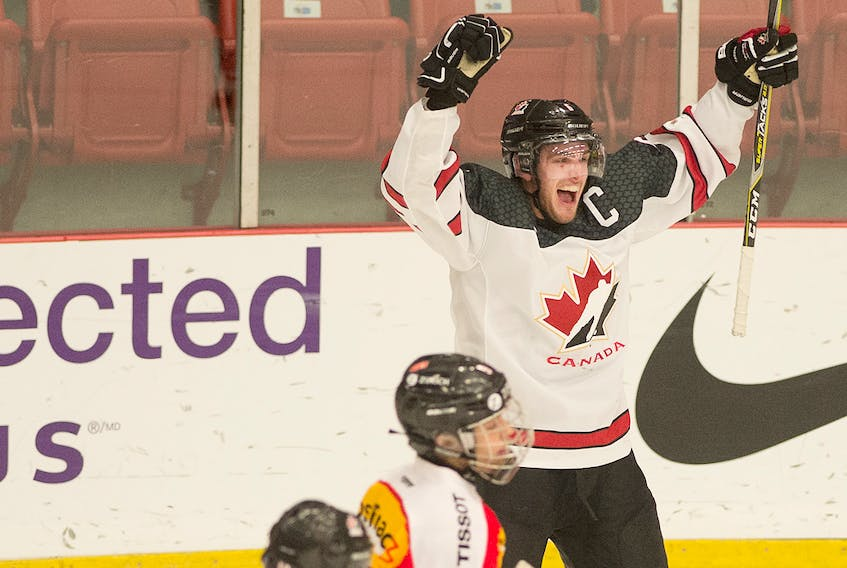 Canada East's Tim Theocharidis celebrates his winning goal in overtime. Mark Goudge/SaltWire Network