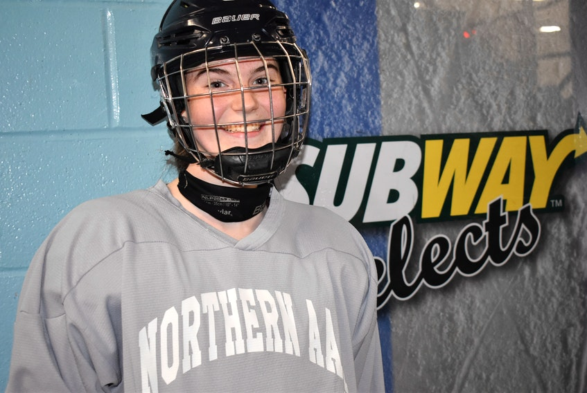 Salmon River's Natalie MacKay, a forward with the Northern Subway Selects U-18 female team, will be attending St. Thomas University next season and suiting for the green and gold clad Tommies.