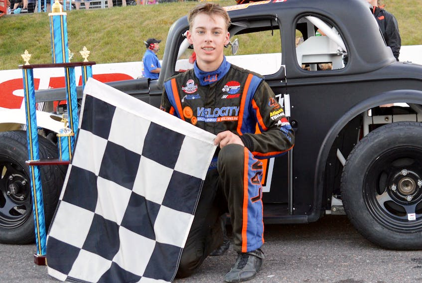 Braden Langille, shown here with his Legends car, will join the Parts for Trucks Pro Stock Tour in 2018. Langille enters the season after achieving great success on the Legends circuit. Ken MacIsaac photo