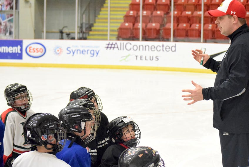 Halifax Mooseheads assistant coach Jon Greenwood led a practice for the Truro Bearcats atom AA team on Monday at the Rath Eastlink Community Centre in Truro. Joey Smith/Truro Daily News