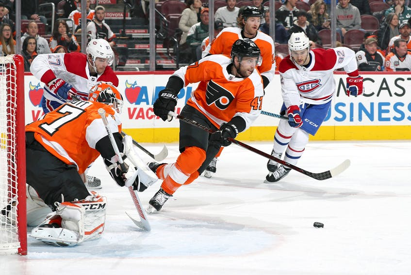 Andrew MacDonald, who played junior A hockey with the Truro Bearcats for the 2003-04 and 2004-05 seasons, has patrolled the blueline for the Philadelphia Flyers for the past five seasons. Jana Chytilova/NHLI via Getty Images