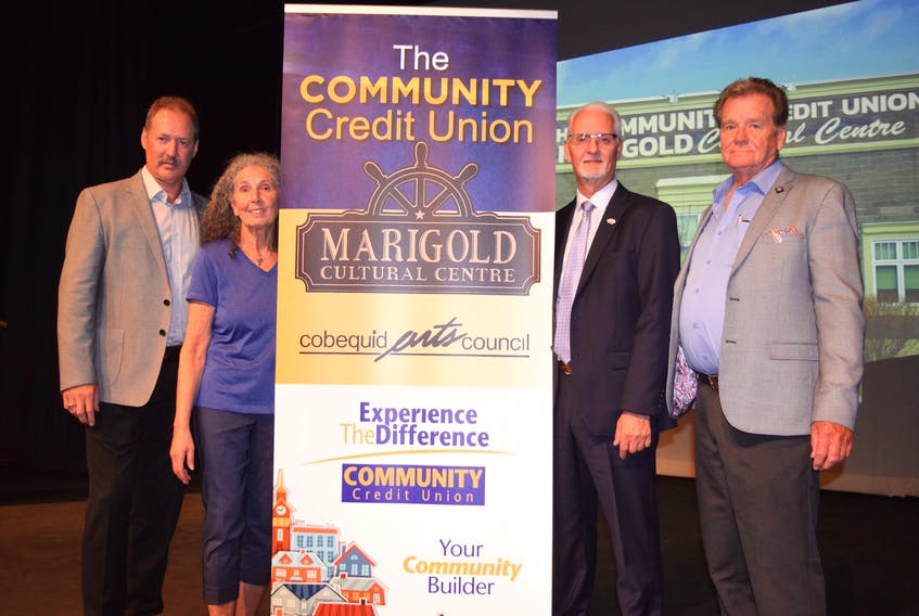 A new 10-year partnership between the Community Credit Union and the Marigold Culture Centre will ensure the future of theatre and performing arts in Truro. From left: Vernon Hearn, chair of the Cobequid Arts Council; Farida Gabbani, executive director of the Community Credit Union Marigold Cultural Centre, Howard Welch, chair of the CCU board and Darrell Kuhn, president and CEO of the CCU.