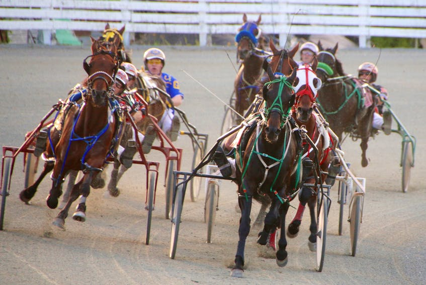 The horses were packed tight as they came around the turn in Race 5 at Truro Raceway Friday evening. Miss Sangria (wearing the white mask), with Gilles Barrieau driving, won the race in 1:58.2. Barrieau, a New Brunswick native, won three races during the evening's Atlantic Driving Championship competition, and will advance to the National Driving Championship, being held in Ontario in September. Nova Scotia driver Redmond Doucet will also go on to the national competition.