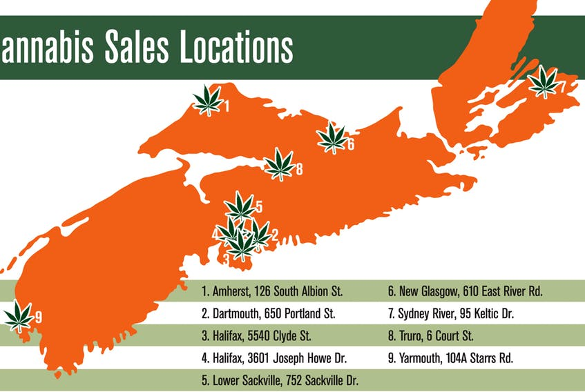 Cannabis sales locations throughout Nova Scotia.